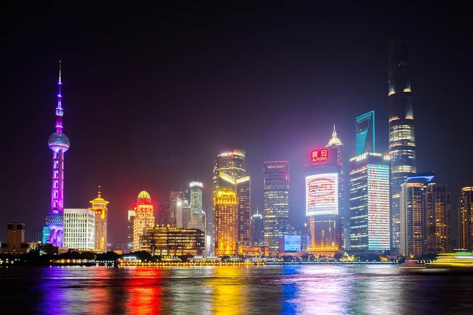 Sett fra Puxi over til Pudong.
