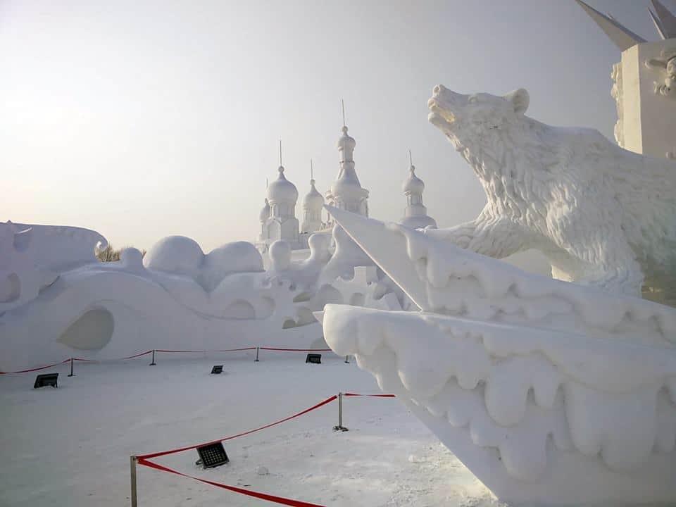 Snø og is skaper en fantastisk stemning i Harbin på vinterstid.