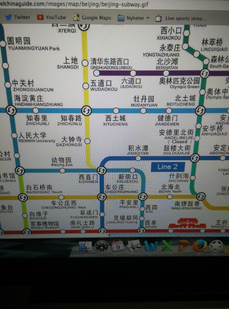 Metrokartet i Beijing. Foto: Reisetilkina.com