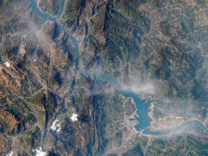 Deler av Yangtze-elven sett fra himmelen.
